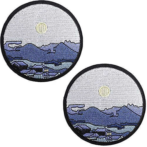 AXEN Silent Town Under Moon Patches Embroidered Iron-on Badge Patches, Iron On Sew On Emblem Patches DIY Accessories, Pack of 2