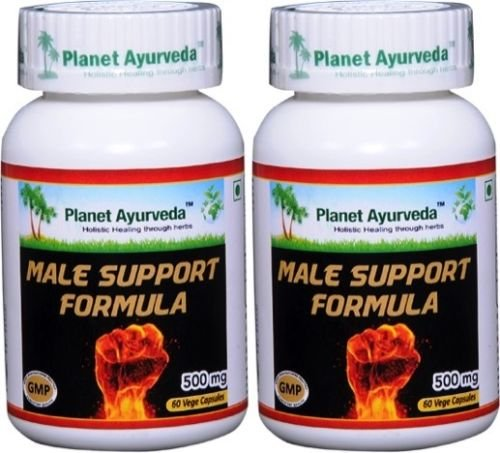Male Support Formula for Men's Libido - 2 bottles (each 60 capsules, 500mg) - Ayurvedic Remedy by Planet Ayurveda (in USA) by Planet Ayurveda