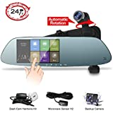 Mirror Dash Cam,Panoramic 1080P Front Rear Car Dash Camera,360°Automatic Rotatable Lens,Exclusive Dual Ultrasonic Object Sensor Hardwire Kit 24H Parking Monitor, Night Vision …