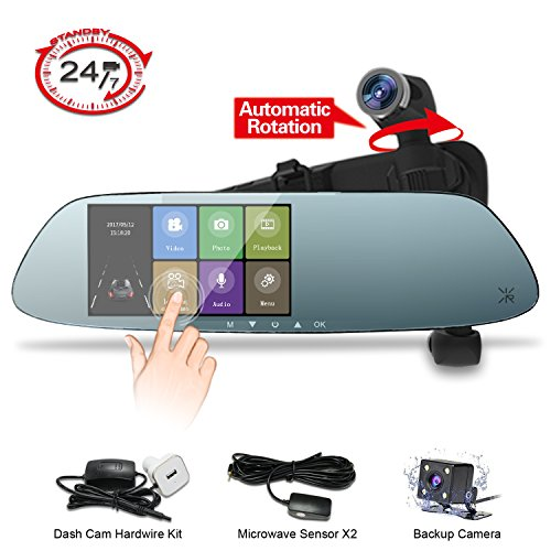 Mirror Dash Cam,Panoramic 1080P Front and Rear Car Dash Camera,360°Automatic Rotatable Lens,Exclusive Dual Ultrasonic Object Sensor Hardwire Kit with 24H Parking Monitor, Night Vision … ()