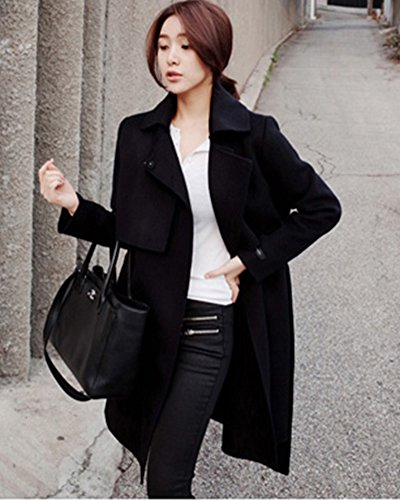 Mujer Chaqueta Solapa Elegante Trenca Abrigo de Manga Larga Coat Jacket con Cinturón Negro