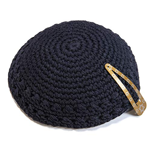 Classic Knitted 17 cm Navy Blue Cotton Kippah Jewish Traditional Kippa Yarmulke Round