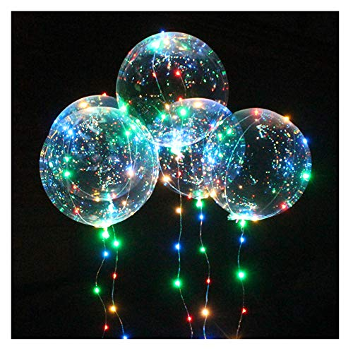 Transparent Party Balloons with Colorful LED Light String, Delivered with Feathers and Ribbons for Birthday Wedding Halloween Christmas Newyear Party Decoration (3 -