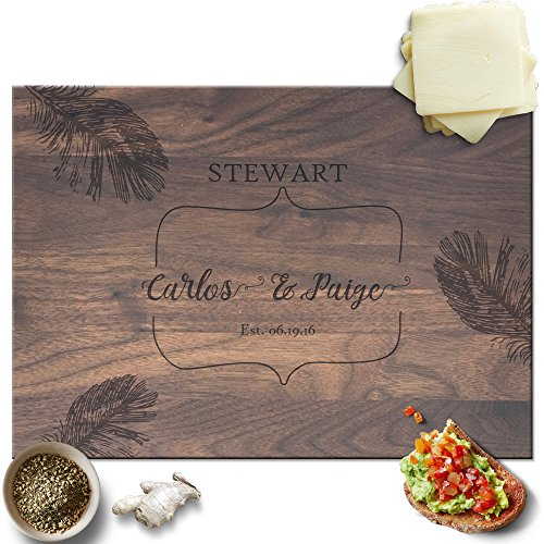 Froolu Tropical Leaves cutting boards wooden for Couples Name & Est Date Engraved Christmas Gifts