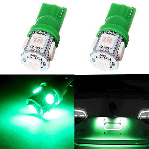 Cciyu 194 Extremely Bright Led Bulbs T10 5 5050 Smd Light Lamp License Plate Light Lamp Wedge T10 168 2825 W5w Green Pack Of 2