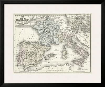 Diseño de mapa de Francia Mitchell es, España e Italia cuadro ...