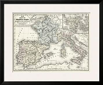 Diseño de mapa de Francia Mitchell es, España e Italia cuadro Póster con diseño de, 34 x 28: Amazon.es: Hogar