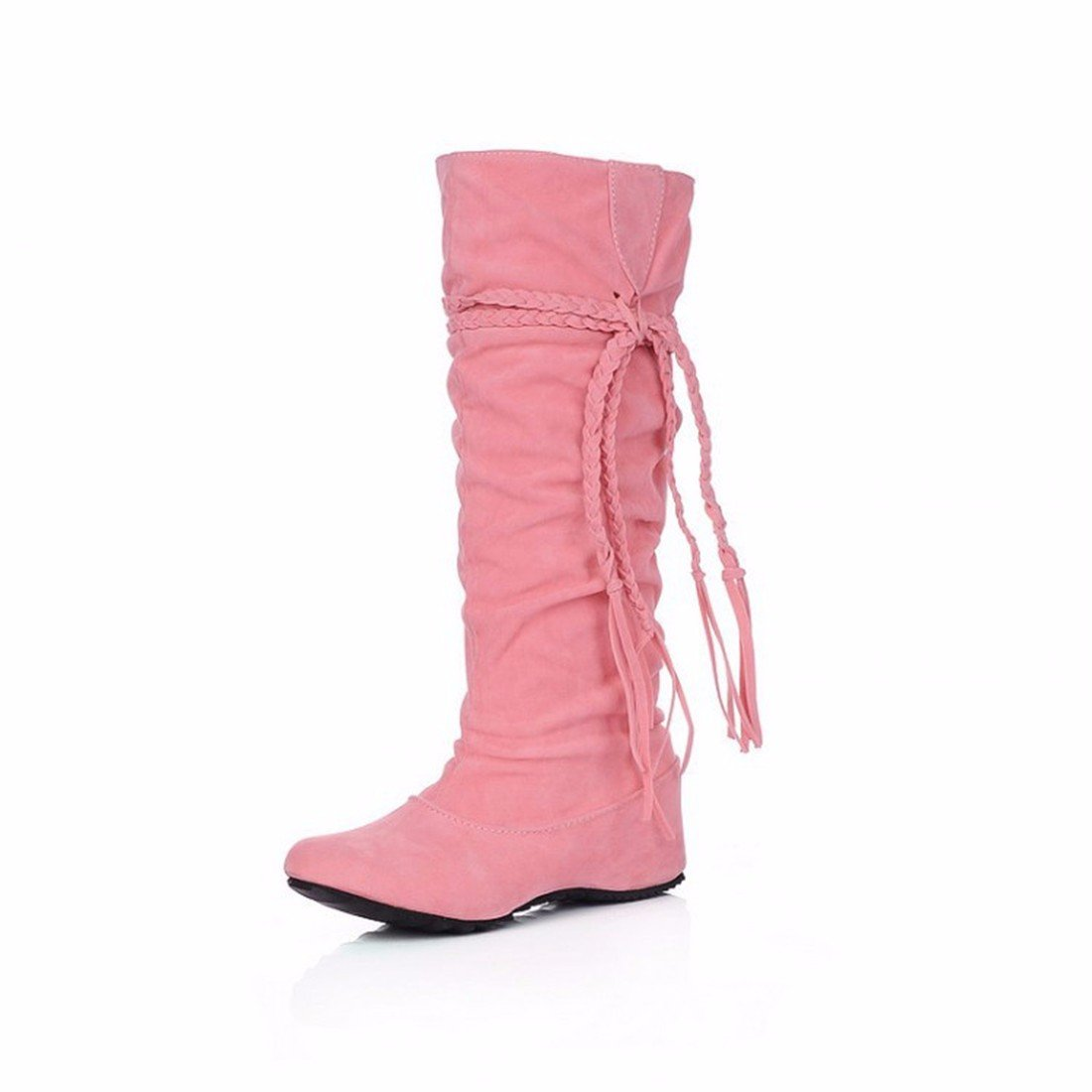 The increase in size of winter scrub fringed boots high boots students US9.5-10 / EU41 / UK7.5-8 / CN42|Pink