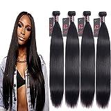 8A Human Hair Weave Bundles Virgin Malaysian Straight Hair 4 Bundles 100% Unprocessed Virgin Human Hair Extensions 400g Natural Black (18 20 22 24 inch)