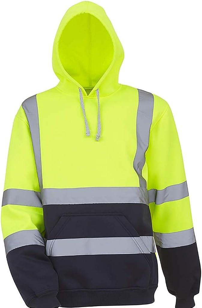 ANOKA Mens Hi Viz Vis Jacket Safety Workwear Security Road Works Reflective Bomber Coat M-7XL