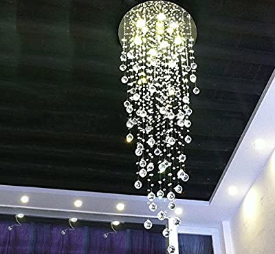 """7PM H59"""" x W20"""" Modern Rain Drop Clear K9 Crystal Chandelier for Hotel Hall Staircase Lighting Fixture"""