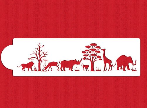 Safari Animals Cake Side Stencil C956 by Designer Stencils (Animal Safari Stencils)
