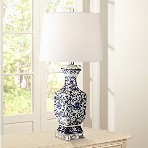 Iris Asian Table Lamp Porcelain Blue Floral Jar Geneva White Drum Shade for Living Room Family Bedroom Nightstand - Barnes and Ivy