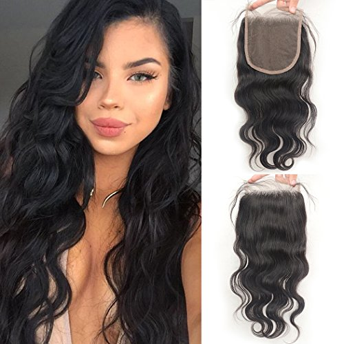 Luwigs 5x5 Lace Closure with Baby Hair Body Wave Free Part Brazilian Human Virgin Hair Lace Pieces Bleached Knots Natural Color (16 inches, Body Wave)