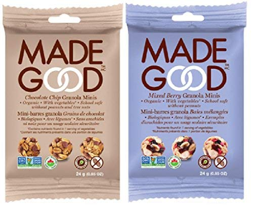 Made Good Granola Minis Variety Bundle, 10 of Each Mixed Berry and Chocolate Chip Granola Minis 0.85 Ounce Pouches, 20 Total