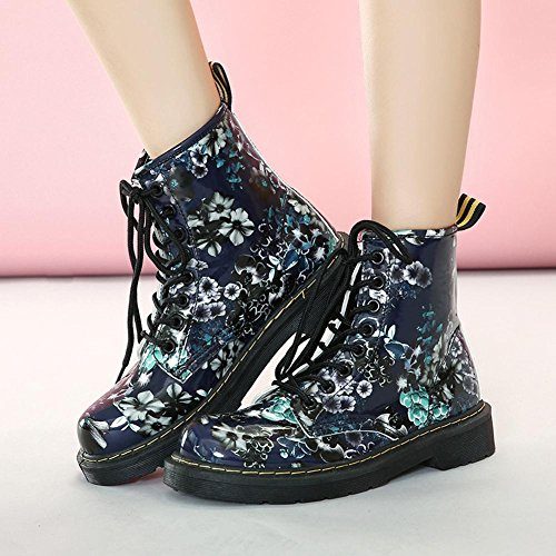 Martin Short Boots Women Blue Flower Leather Flat Heel Thicker Plush Warm Casual Shoelace Ankle Shoes PICTURECOLOR-35 epRQgd7T