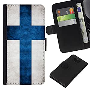eJoy---La carpeta del tirón la caja de cuero de alta calidad de la PU Caso protector - Samsung ALPHA G850 - --Finland Grunge Flag