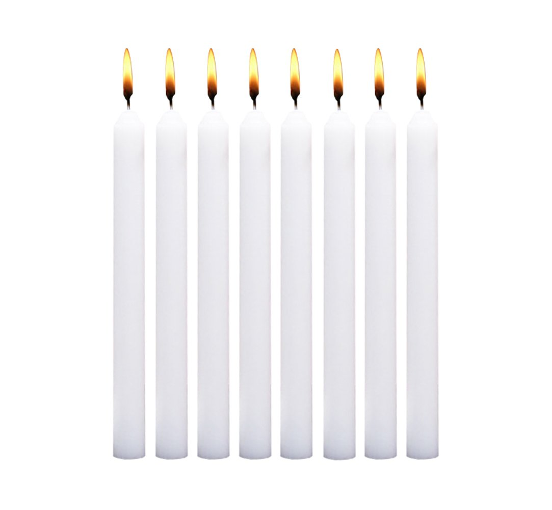 LANKER 18 Pack Taper Candles – 8 Inch Dripless Unscented Smokeless Candles – 6.5 Hours Burning Time - Decoration for Wedding, Churches, Dinner, Halloween and Christmas (White)