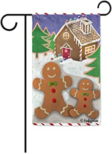 "KafePross Happy Winter Snow Gingerbread Mother and Child Decorative Christmas Garden Flag Merry Xmas Night Village Scenery Decor Banner for OutSided 12.5""X18"" Double Sided"
