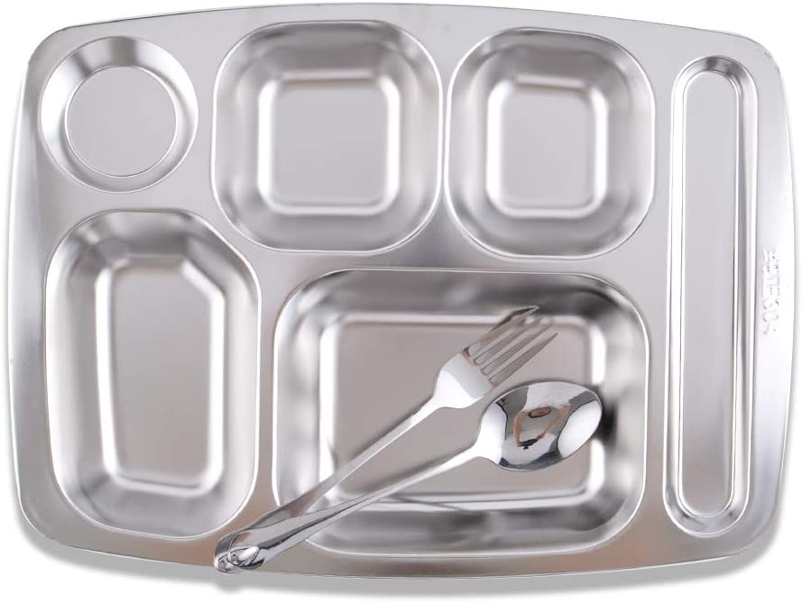 Super Leader Stainless Steel Rectangular Divided Dinner Plate with 4 compartment, Cafeteria Mess Tray, Food Serving Partition Plate for Hiking, Camping, Picnic, Home & Daily Use - 3 piece combination