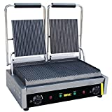 Buffalo Bistro Contact Grill Double Ribbed 210X540X390mm Barbecue Griddl