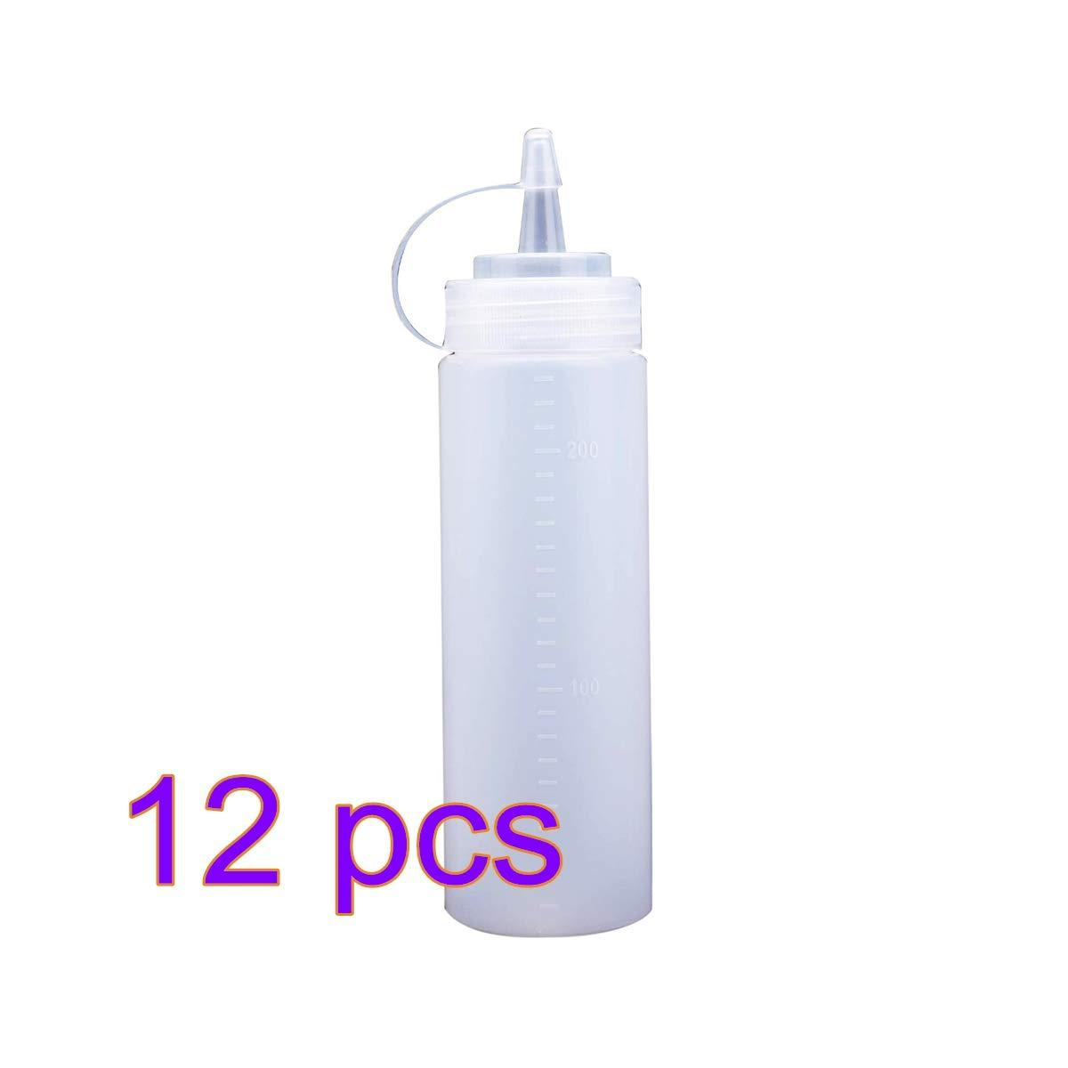 Plastic Squeeze Bottle Bulk Clear BPA Free Condiment Bulk Clear BPA Free Condiment Bottle Set Top Bottles Squirt Condiment Bottles (12Pcs)