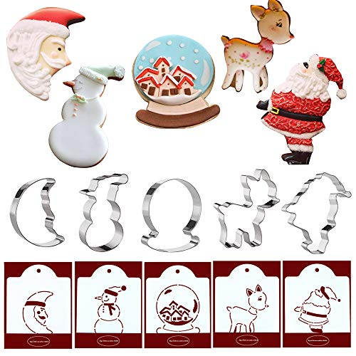 Christmas Cookie Cutters with Matching Cookie Stencils - Set of 10-5Pcs Cookie Cutter and 5Pcs Stencils, Include Man in the Moon, Snow Globe, Snowman, Reindeer, Christmas Wreath and Santa