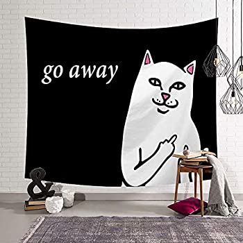 Amazoncom Handser Cat Decor Tapestry Hip Hop Cat With Quote Go