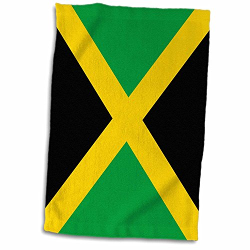 3D Rose Flag of Jamaica Square-Caribbean Jamaican Green Black with Yellow Gold Saltire Cross Towel, 15
