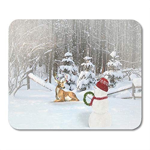 Boszina Mouse Pads Bird Green Animal Snowman and Deer in Winter Forest with Christmas and Snowflakes Antler Buck Mouse Pad for notebooks,Desktop Computers mats 9.5