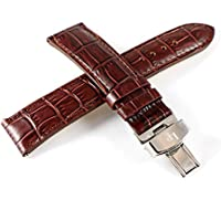 Lucien Piccard 20MM Alligator Grain Real Leather Watch Strap Mahogany Brown & Stainless Butterfly Clasp