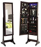 FINNHOMY Lockable Mirrored Jewelry Armoire Storage Organizer Free Standing Makeup Cabinet Holder w LED Light Stand for Ring Necklace Earring Cosmetics Broach Bracelet, Brown