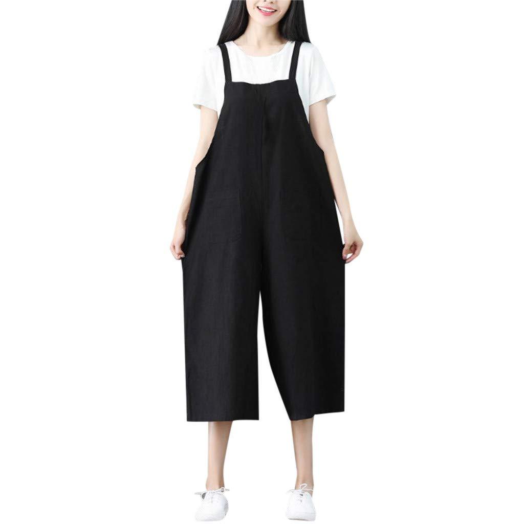 Fanteecy jumpsuit Womens Linen Loose Fit Overalls Jumpers Casual Long Rompers Wide Leg Baggy Bibs Overalls Suspender Pants Black