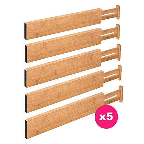 RAPTUROUS Bamboo Drawer Dividers - Pack Of 5 Expandable Drawer Organizers With Anti-Scratch Foam Edges - Adjustable Drawer Organization Separators For Kitchen, Bedroom, Baby Drawer, Bathroom and Desk