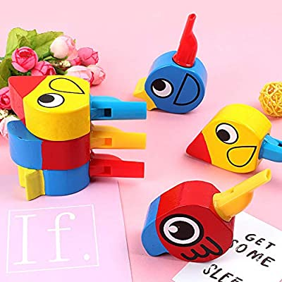 Anniston Kids Toys, Wooden Colorful Drawing Bird Shape Whistle Kids Developmental Toy Party Favor Learning & Education Perfect Fun Time Play Activity Gift for Boys Girls, Random Color: Toys & Games