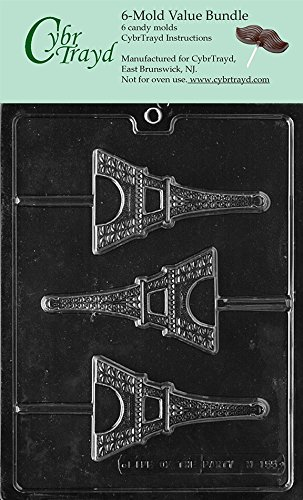 CybrTrayd M155-6BUNDLE Eiffel Tower Chocolate Candy Mold with Exclusive Copyrighted Chocolate Molding Instructions