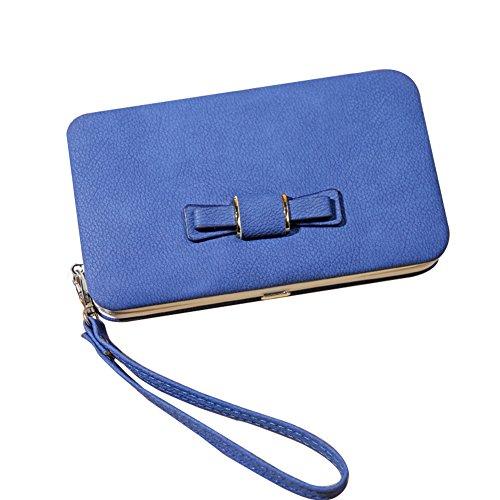 WTUS Mujer Carteras Nueva Del Moño De Moda Femenina Del Bolso Cartera Bolso De Mujer azul1