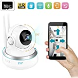 Prunend Wireless Security Camera, 720P Cloud Storage Live Steam HD Home Surveillance IP Camera WiFi Baby Monitor with Night Vision Pan/Tilt Two way Talk(Included 16G TF Card)