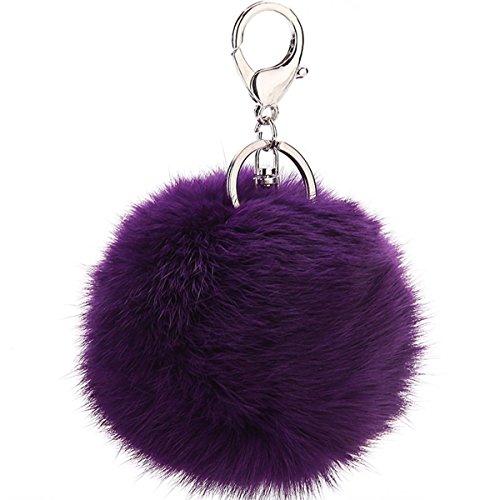 Puff Ball Pom Pom Keychain Fur Ball Keyring Cityelf Fluffy Accessories Car Bag - Silver Keychain Clip