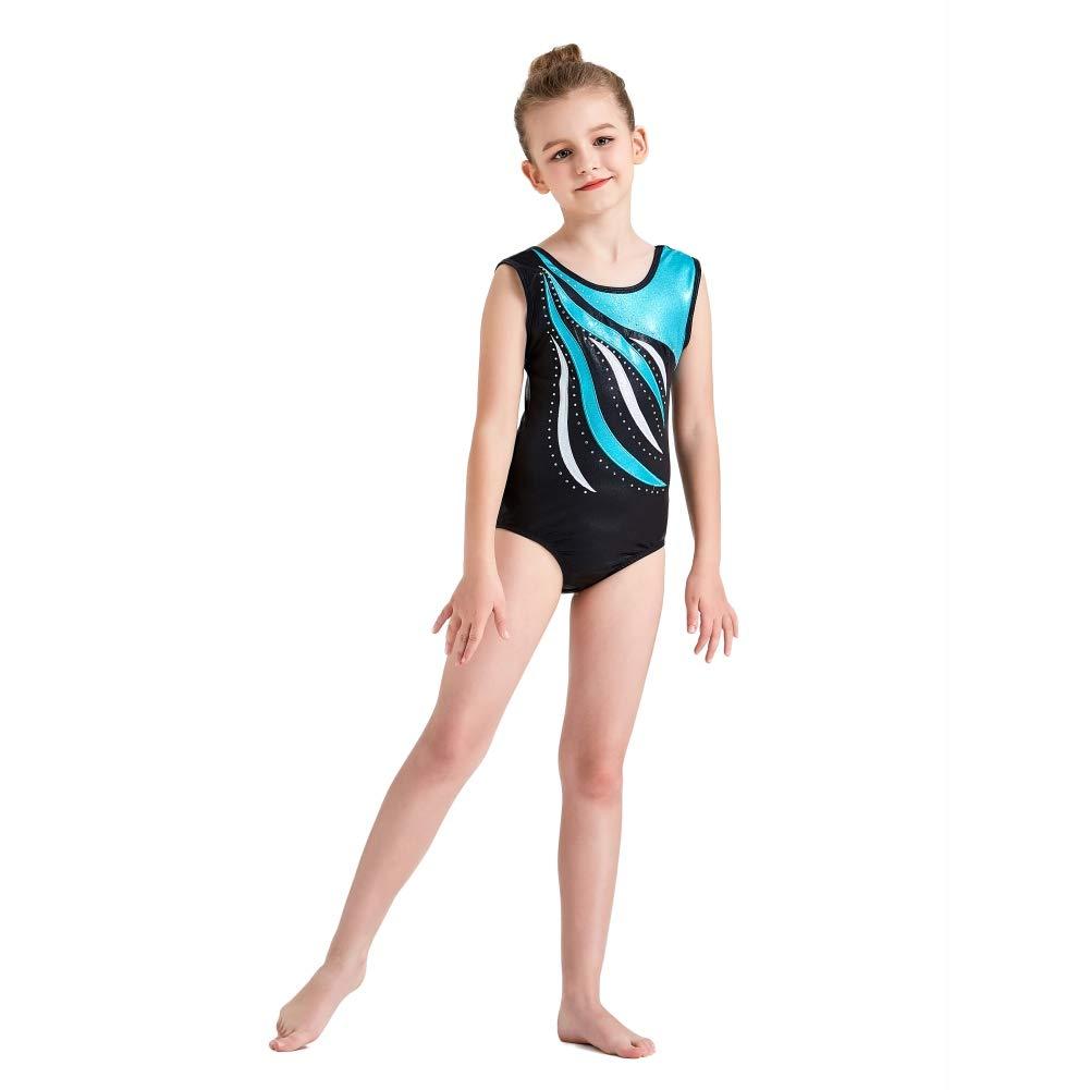 Reefa Sparkle Gymnastics Leotards for Girls One Piece Sleeveless Ballet Tutu 5-14 Years