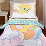 New Warner Bros. - Looney Tunes Tweety Dream Clouds Toddler Bedding Set - (Type of Product:Bedding-Bed-in-a-bag) - New
