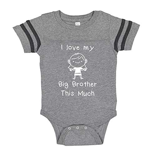 I Love My Big Brother This Much (Little Girl) - Baby Sporty Bodysuit (Granite/Smoke Newborn) ()