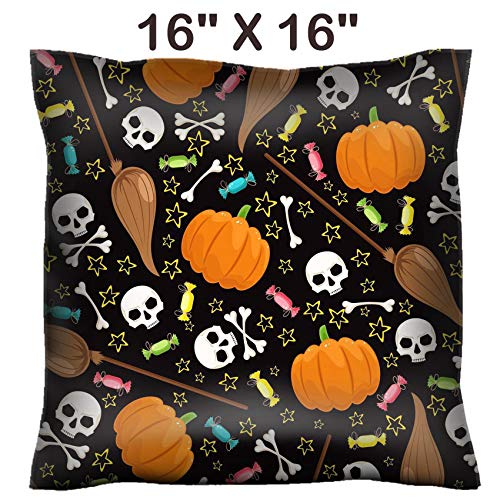 (Liili 16x16 Throw Pillow Cover - Decorative Euro Sham Pillow Case Polyester Satin Soft Handmade Pillowcase Couch Sofa Bed Image ID: 22174085 Cute Background for Halloween with Skulls and Brooms)
