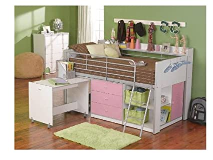 Latest Rack Furniture Charleston Loft Bed Pink White Simple - Amazing white loft bed with desk In 2018
