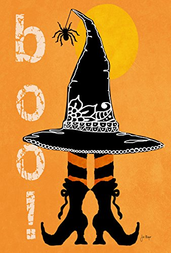 Toland Home Garden Boo Boots 12.5 x 18 Inch Decorative Halloween Witch Hat Spider Double Sided Garden Flag]()
