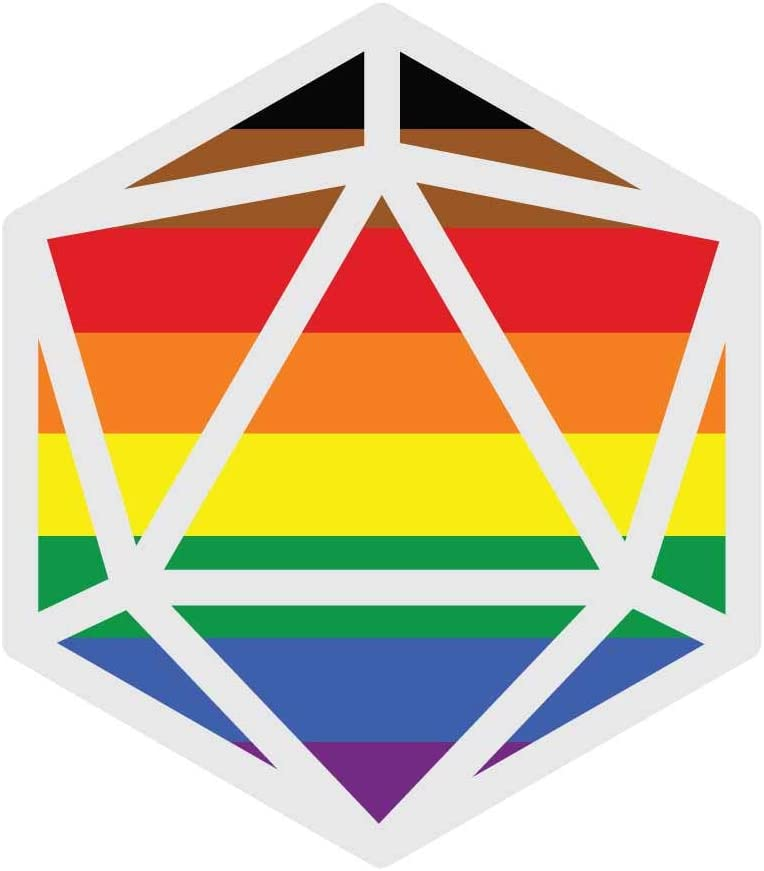 Dark Spark Decals All Inclusive Rainbow Flag LGBT Pride D20 - Great for Tabletop Gamers - 4 Inch Full Color Vinyl Decal for Indoor or Outdoor use, Cars, Laptops, Décor, Windows, and More