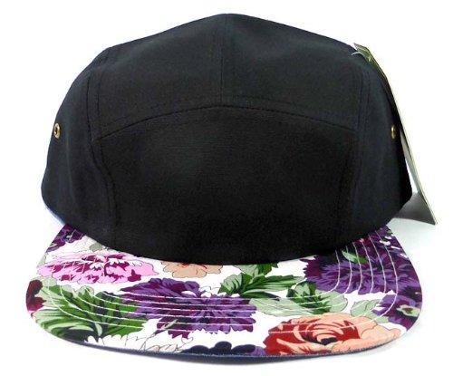 Fashion 5 Panel Floral Camp Hats Caps - Black | Purple Flower