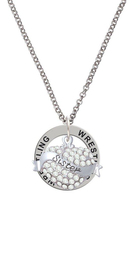 Sister Banner on Clear Crystal Heart - Wrestling Affirmation Ring Necklace