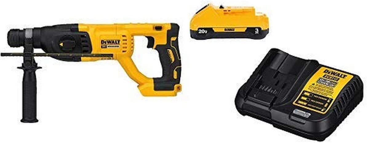 "DEWALT DCH133B20V Max XR Brushless 1"" D-Handle Rotary Hammer Drill (Tool Only) with DCB230C 20V Battery Pack"