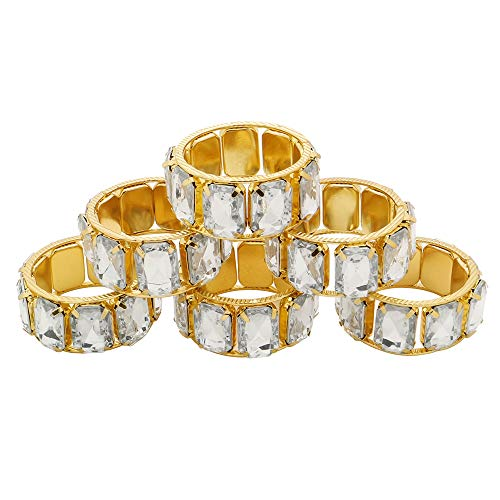 C&L Accessories Gold Square Stone RingNapkin Rings Set of 6 for Dinner Party,Family Gatherings,Wedding